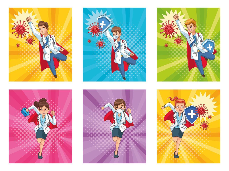 super läkare personal vs covid19 vektor