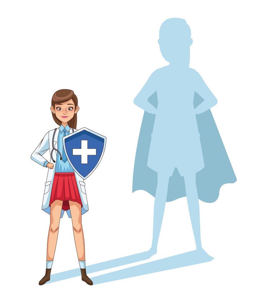 Super Ärztin mit Schild und Schatten gegen covid19 vektor