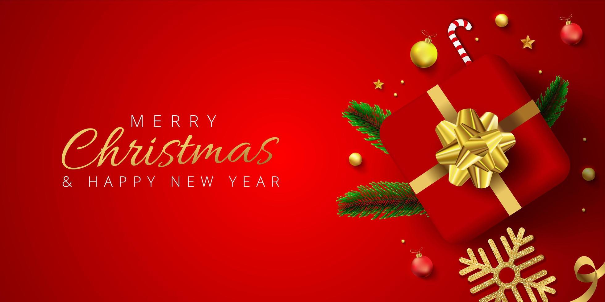 röd jul banner med present, grannlåt, snöflinga, tall löv vektor