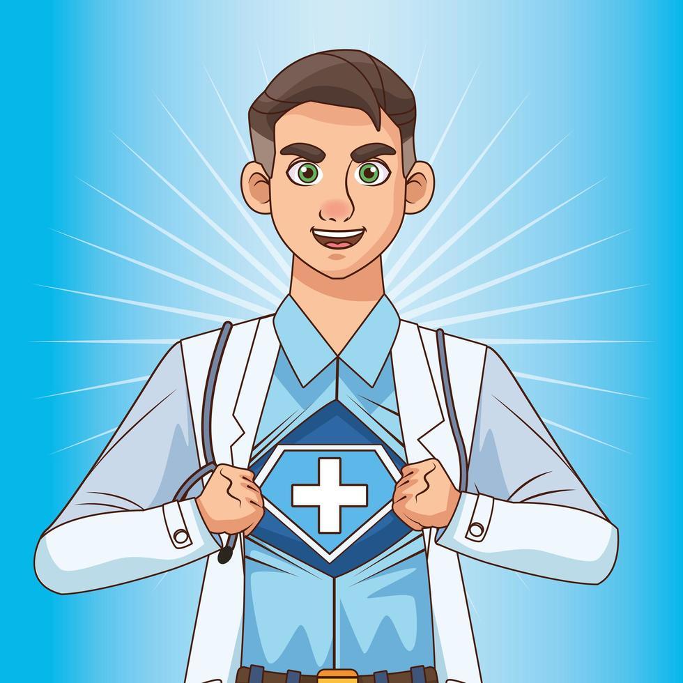 Super Doctor öffnet das Shirt gegen covid19 vektor