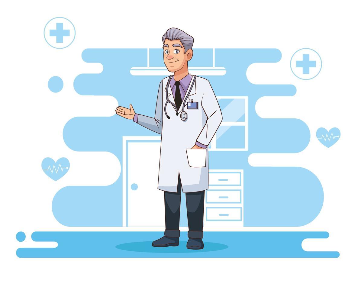professionell läkare karaktär med stetoskop vektor