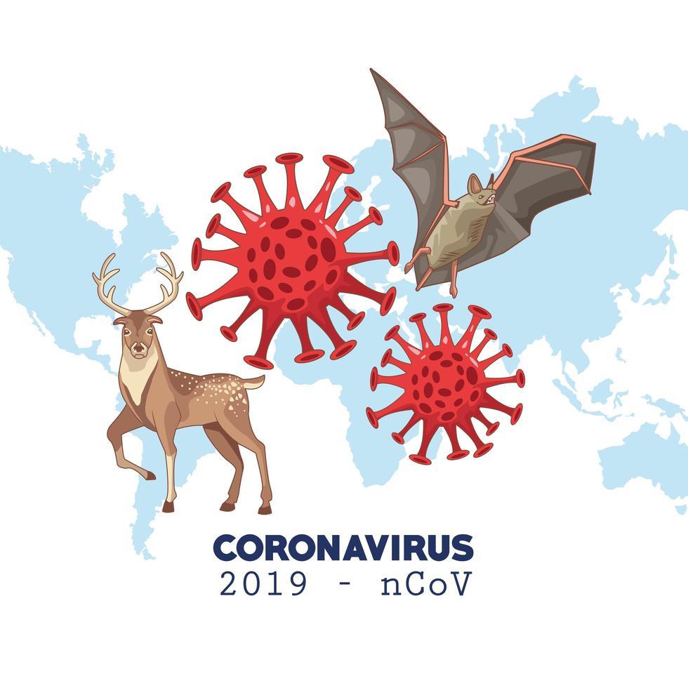 coronavirus infographic med världskarta och djur vektor