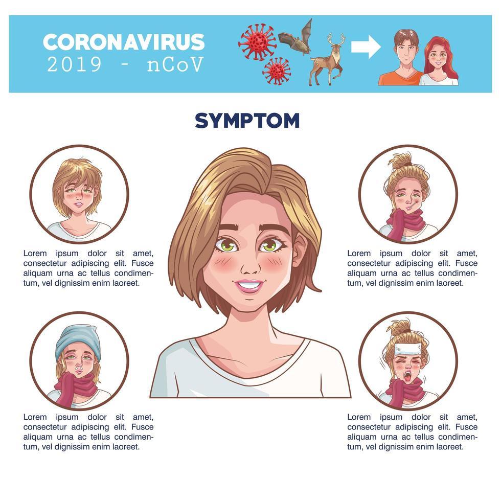 coronavirus infographic med kvinnokaraktär och symtom vektor
