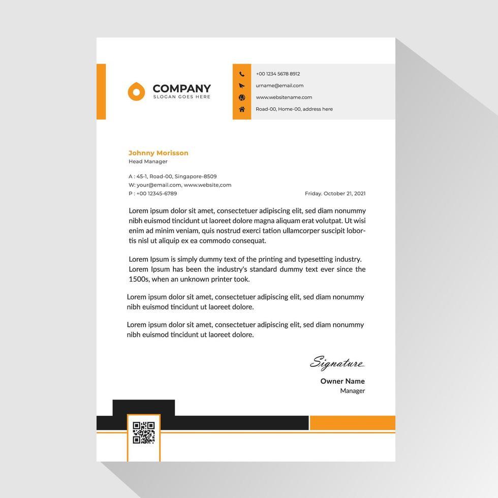 affärsbrevpapper med orange och svarta detaljer vektor