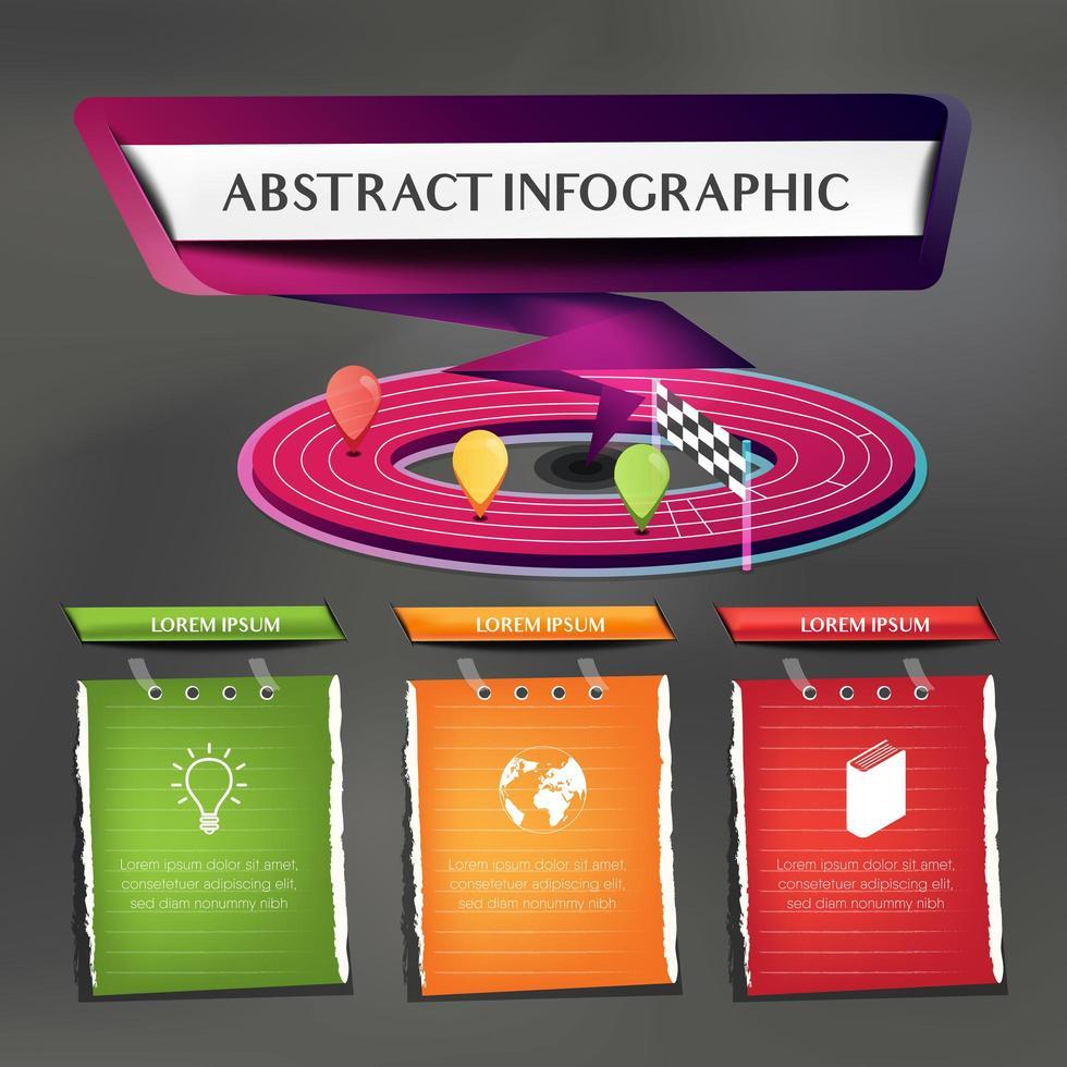 springa spår infographic med 3 papper anteckningar vektor