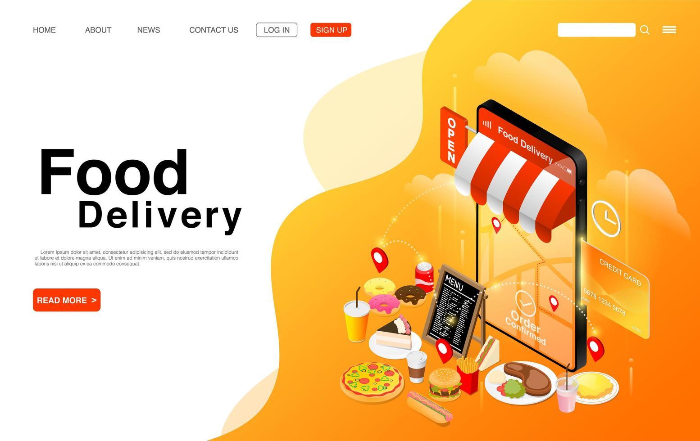 landningssida för matleveransservice online vektor