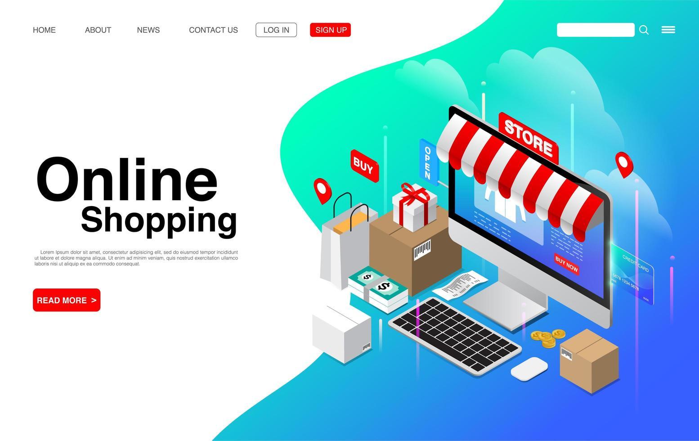 online shopping på dator skrivbordets målsida vektor