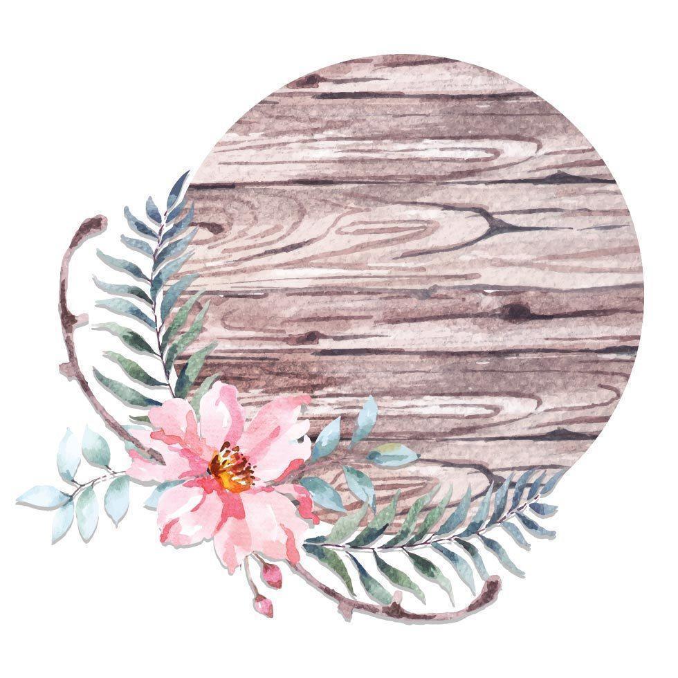 kreisförmiges Holzschild des Aquarells verziert mit Blumen vektor