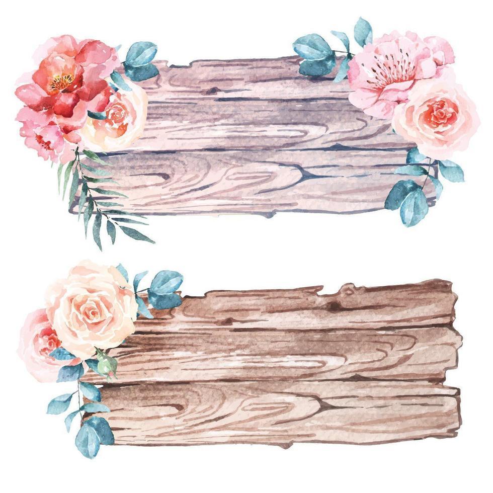 akvarell träskyltuppsättning dekorerad med blommor vektor