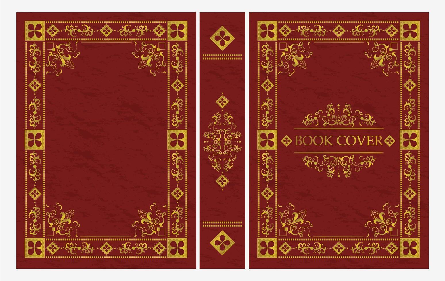 rot-goldenes Ornament des klassischen Buchumschlags vektor
