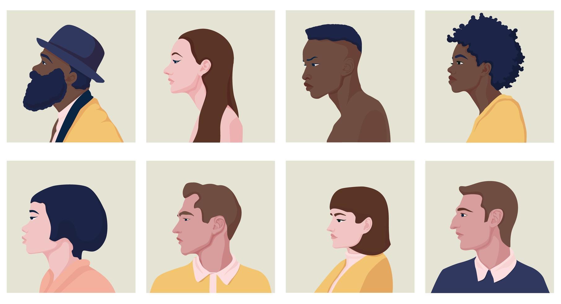 männliche und weibliche Gesichter im Profil mit verschiedenen Frisuren vektor