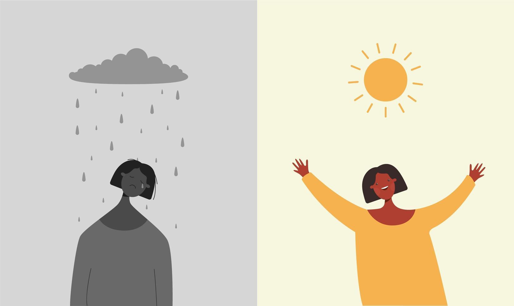 glad kvinna under solen, sorglig kvinna under regnmoln vektor