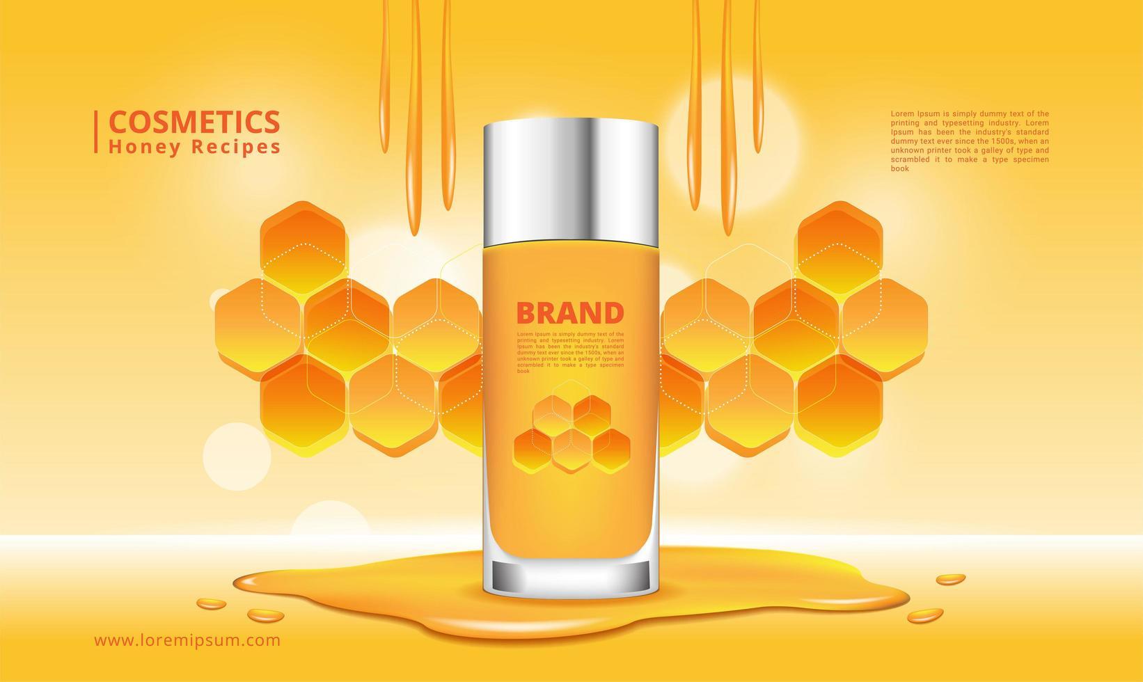 honung kosmetika produkt och honungskaka design vektor