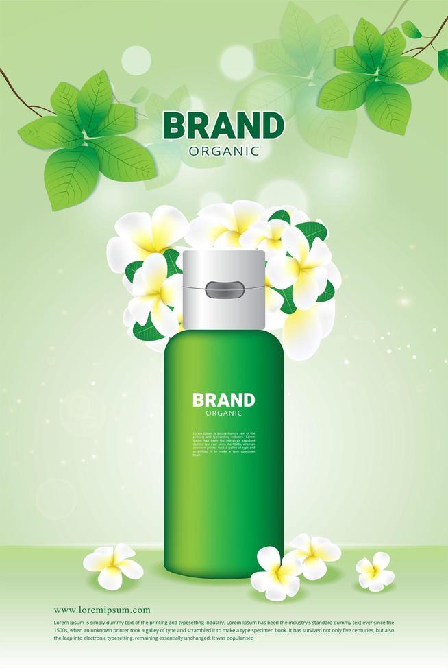 naturligt grönt blad- och blomsteraffisch för organiska kosmetiska annonser vektor