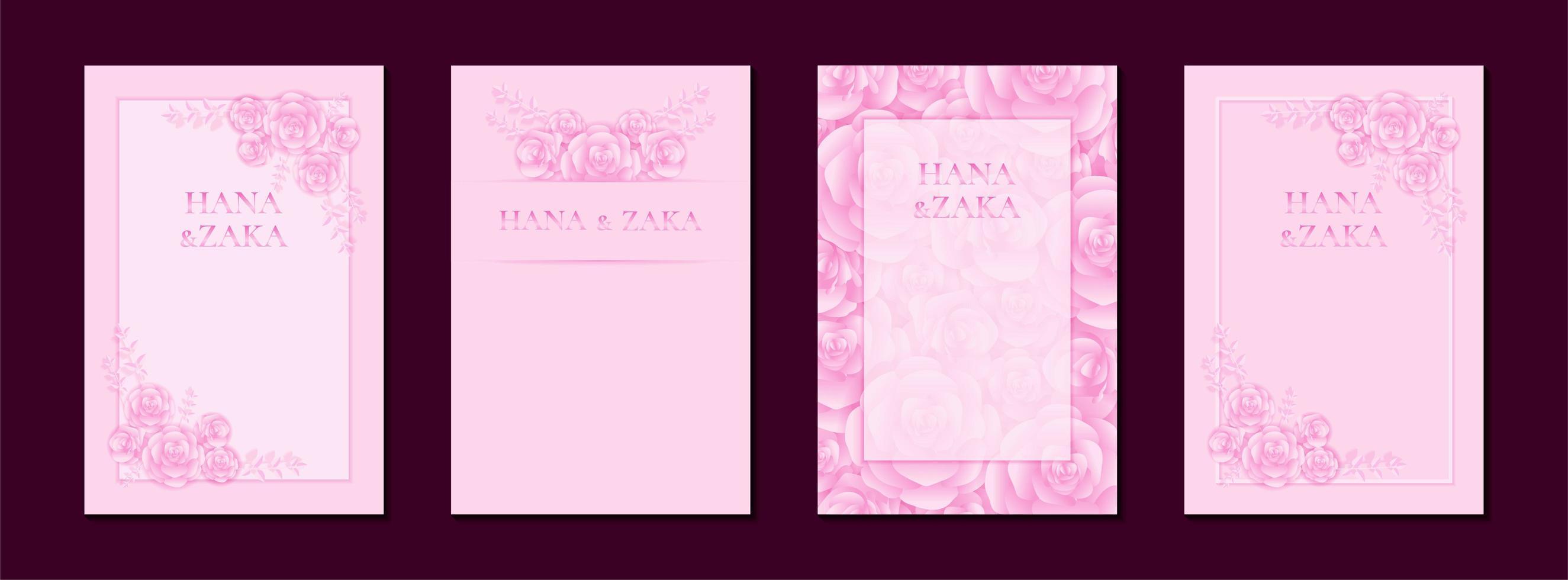 bröllop inbjudningskort rosa ros med ram mall vektor