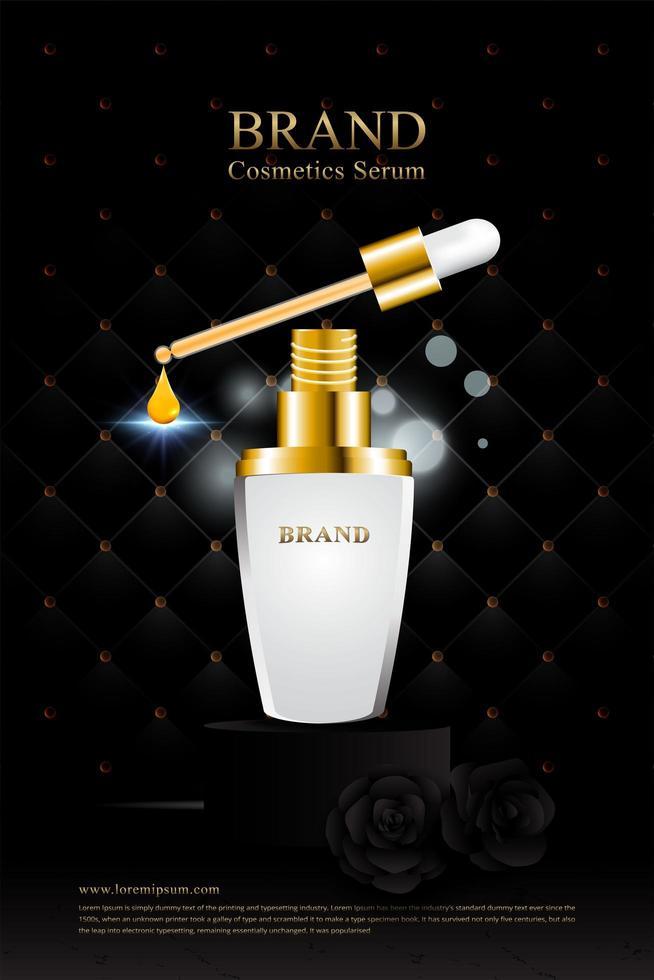 svart guld läderklädsel och rosor kosmetisk serum affisch vektor