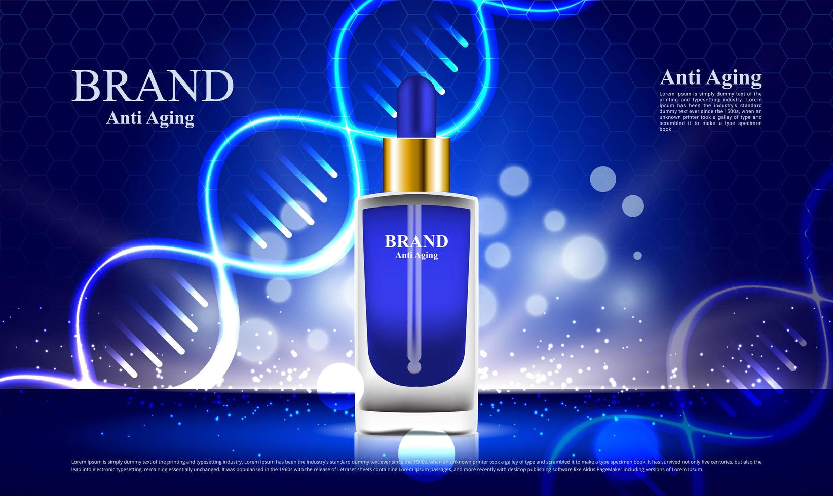 glödande blå kosmetika anti aging annons med dna vektor