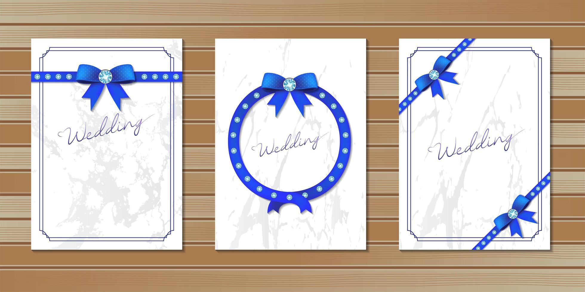 Hochzeitseinladungskarten mit Schleifen verziert vektor