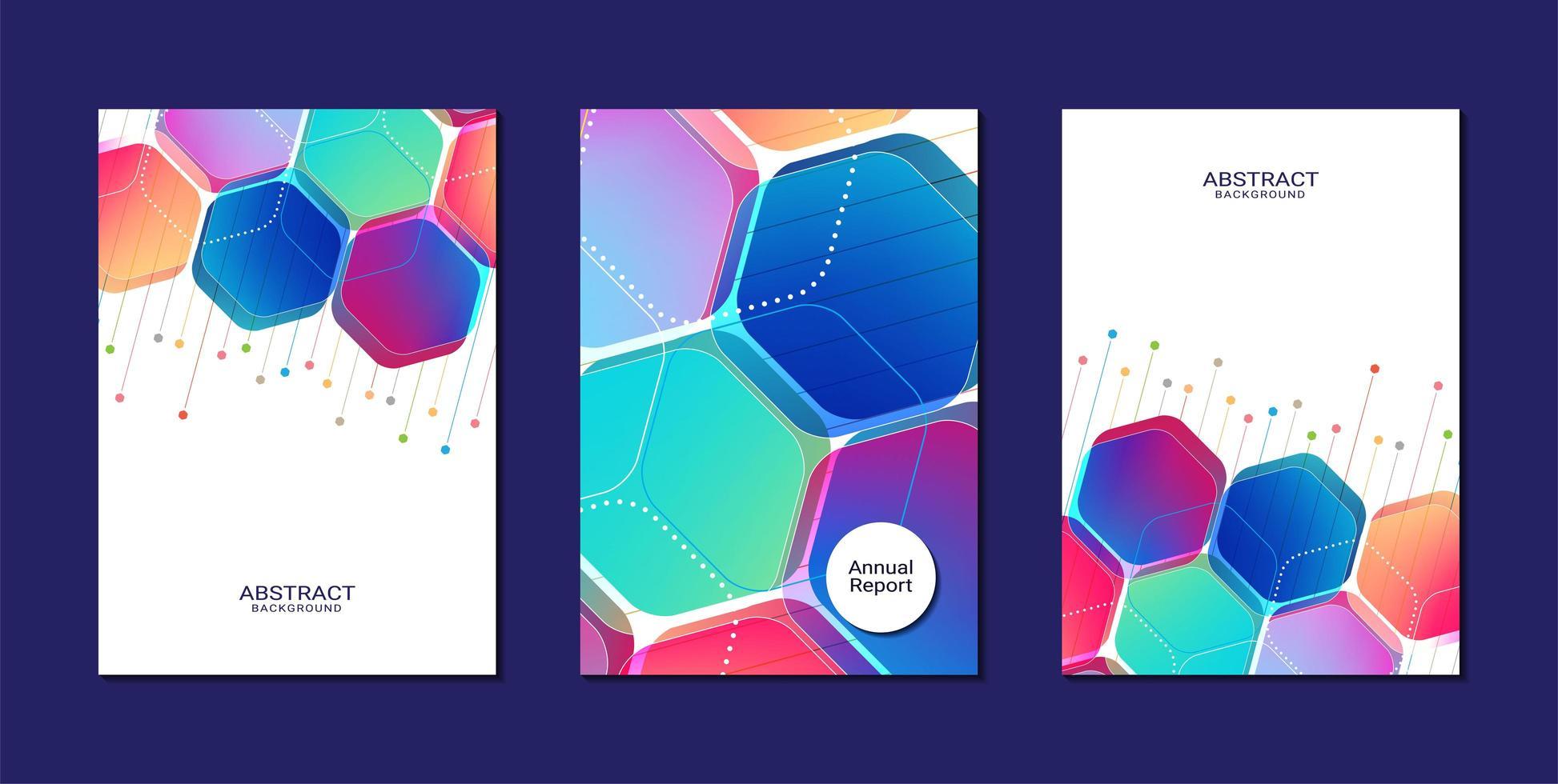 färgglada hexagon former mallar för rapportrapport vektor