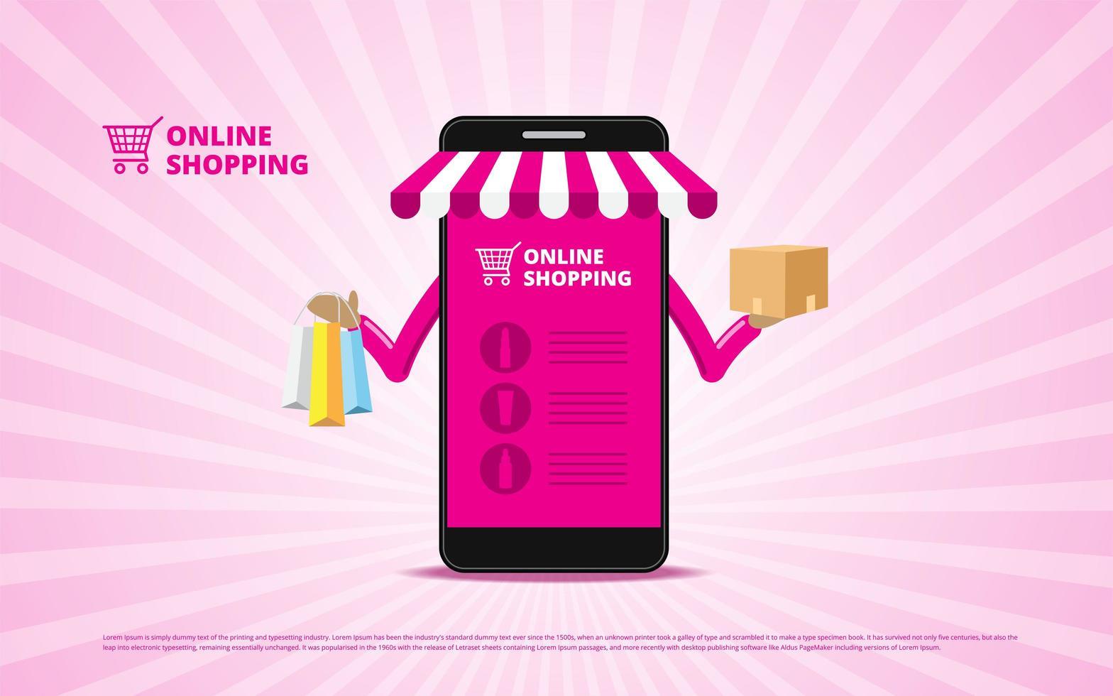 Online-Shopping-Konzept mit Smartphone mit Artikeln vektor