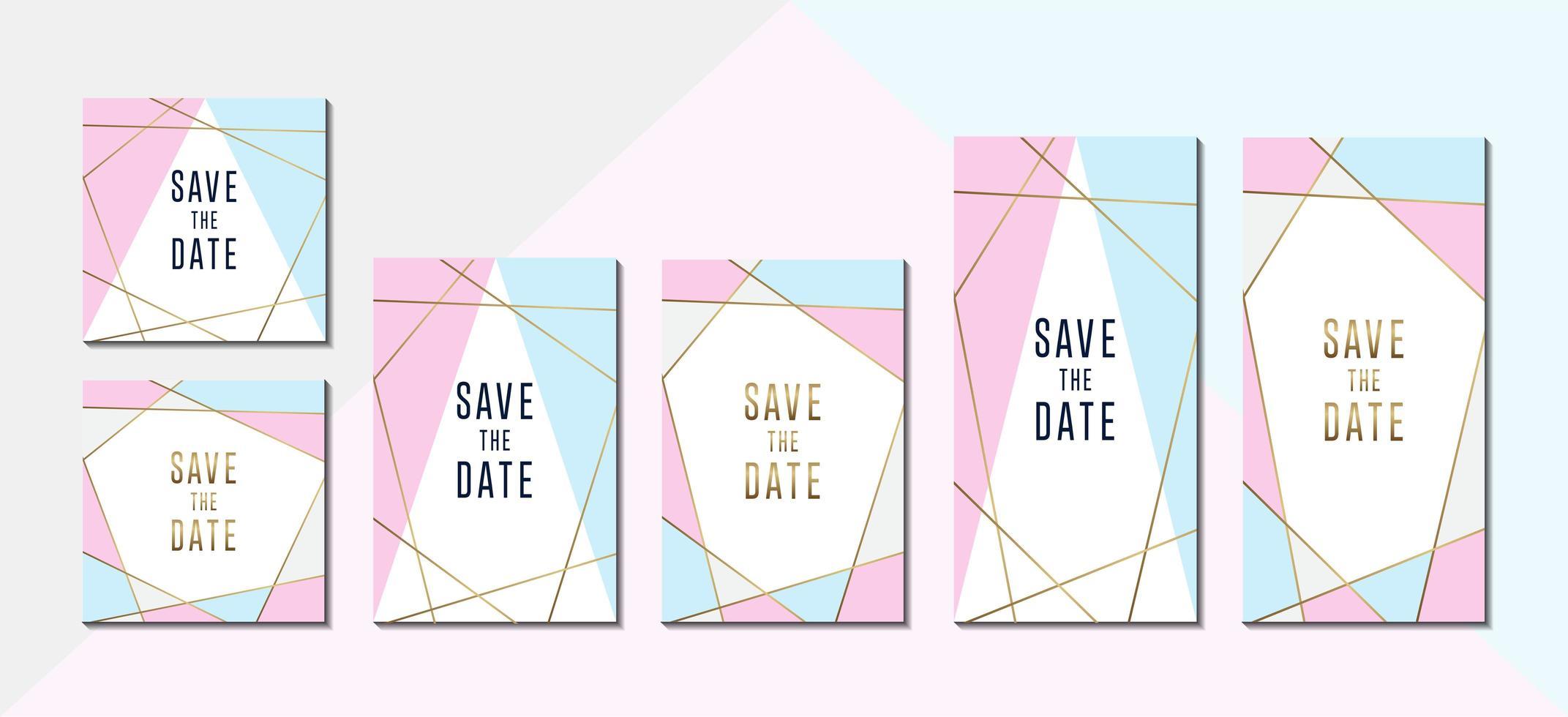 Pastellfarben-Einladungsset mit geometrischen Goldrahmen vektor
