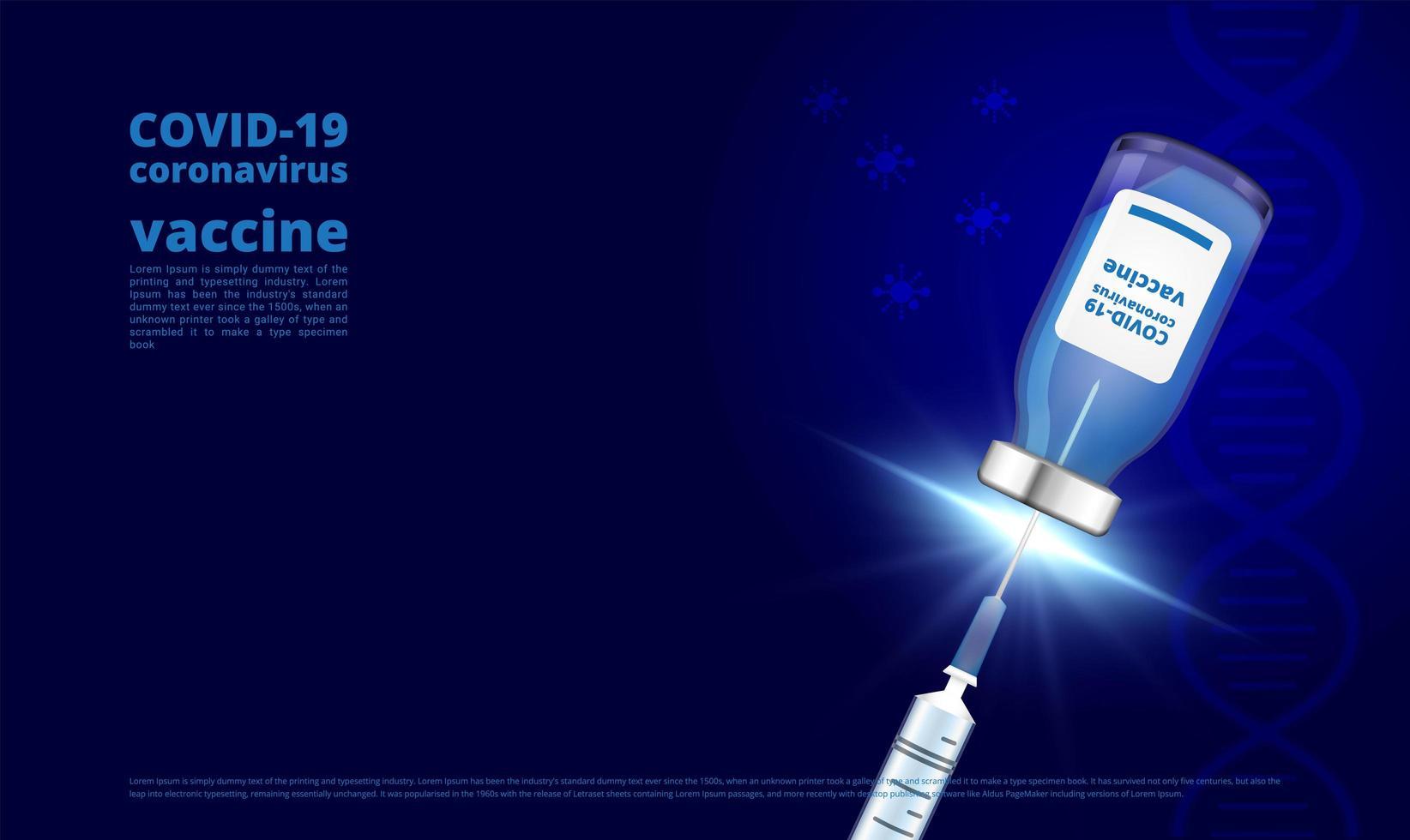 Coronavirus-Impfstoffflasche und Spritze auf dunkelblau vektor