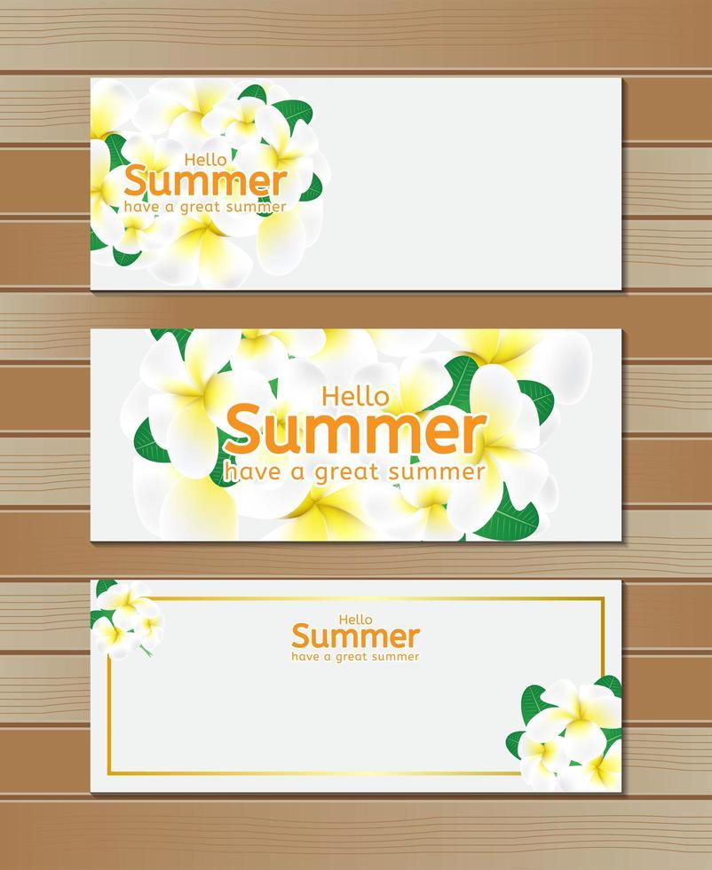 hej sommarbaner med blommor på trä vektor