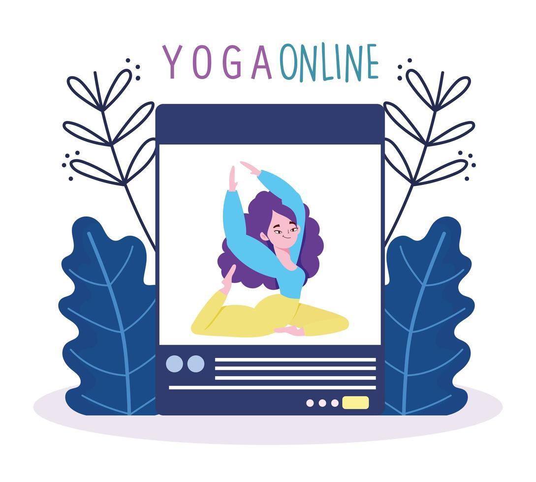 Online-Yoga-Kurs mit weiblichem Charakterunterricht vektor