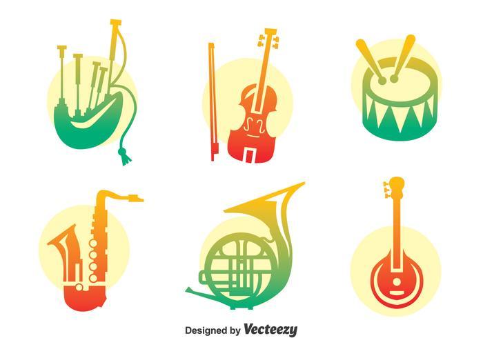 Färgglada musikinstrument Vector Set