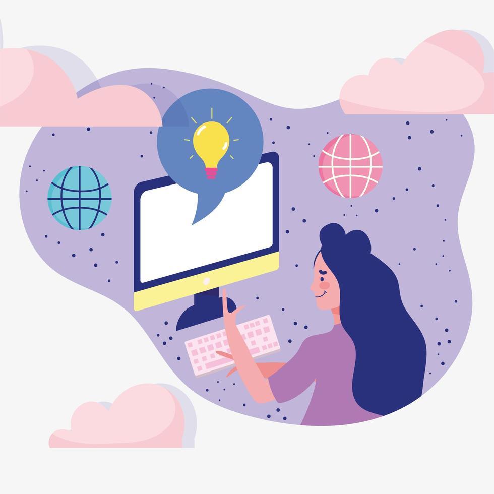 kvinna som använder dator, ansluten globalt vektor