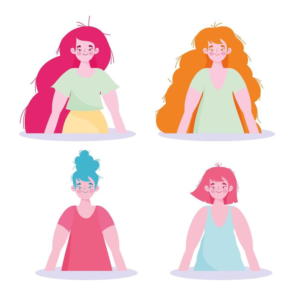 kvinnliga karaktärer stående uppsättning vektor