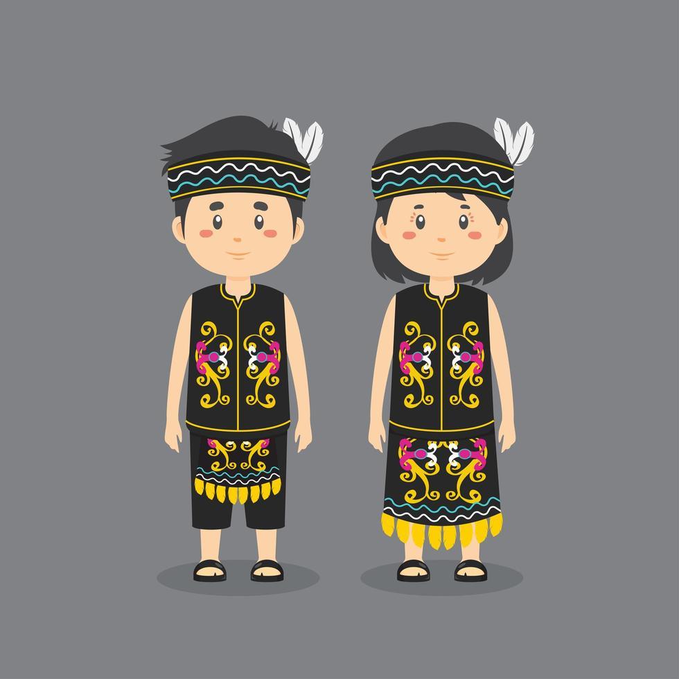 dayak traditionell klänning vektor