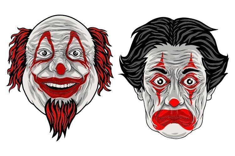 två roliga tecknad clown vektor