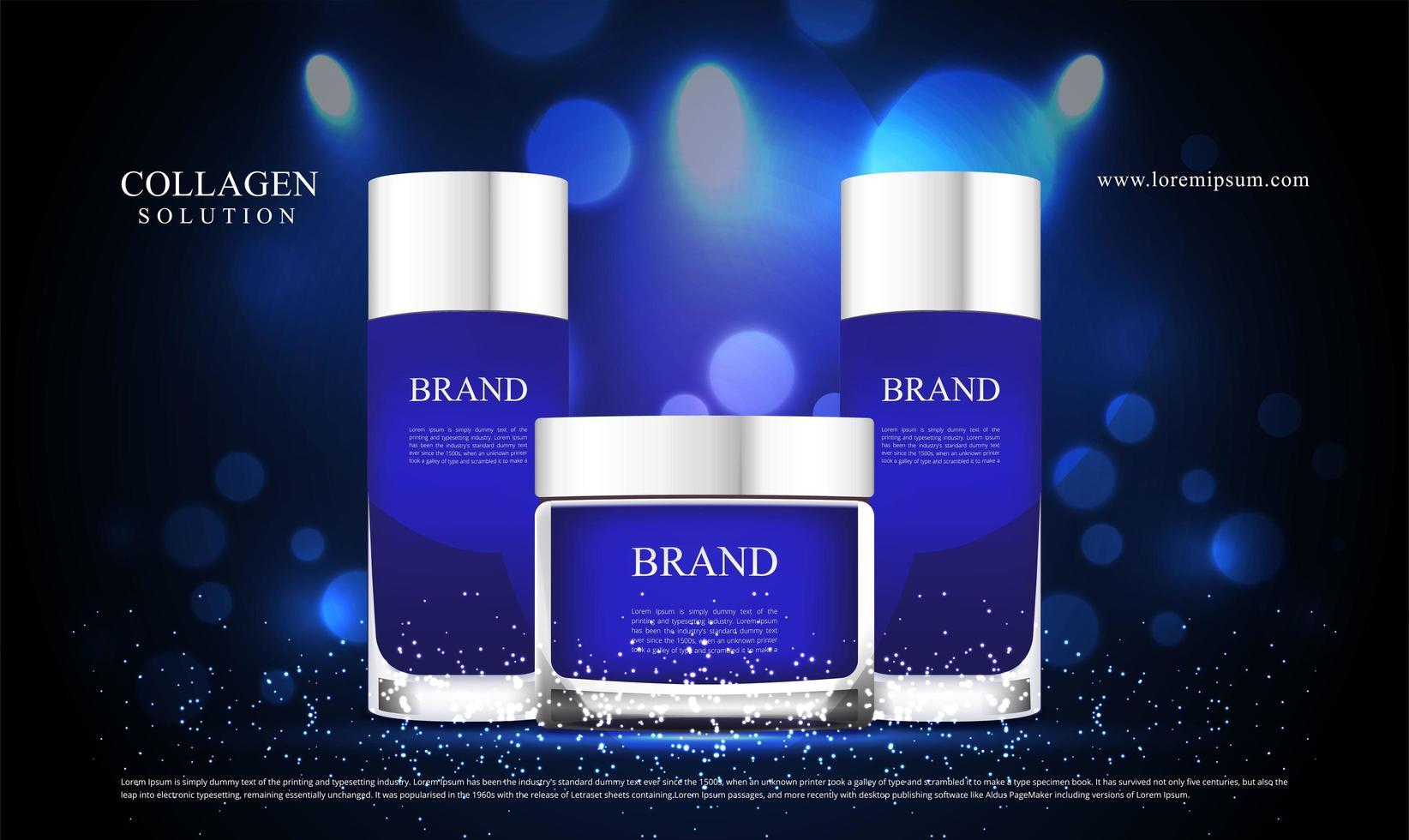 blå glitter och belysningseffekt för kosmetikreklam vektor