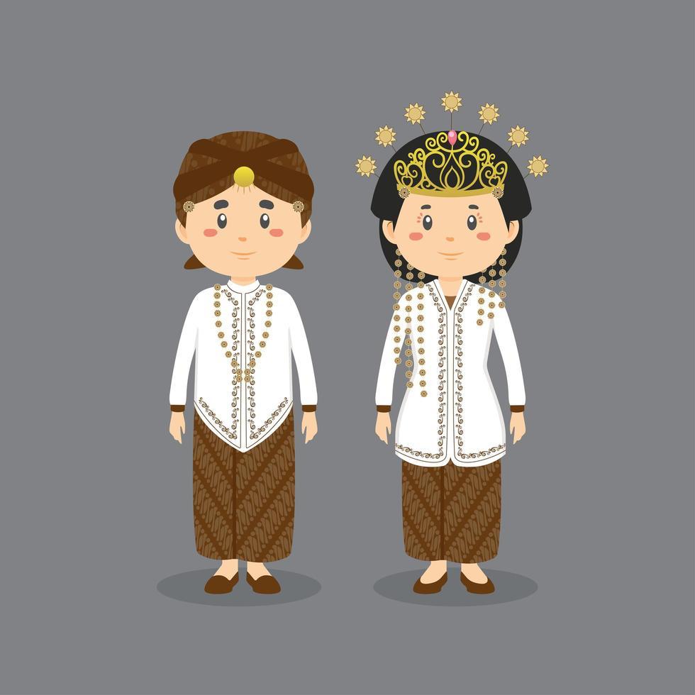 västra java som bär traditionell bröllopsklänning vektor
