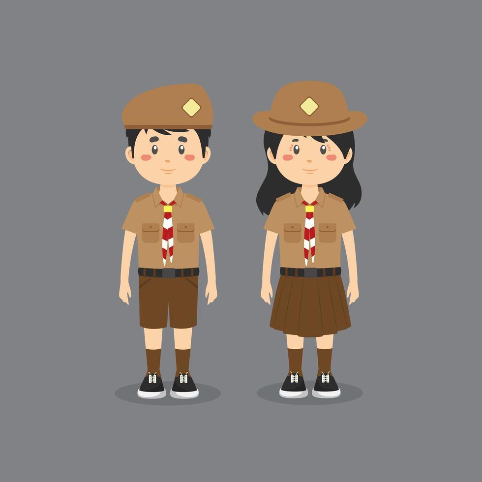 karaktärer som bär indonesisk uniform vektor