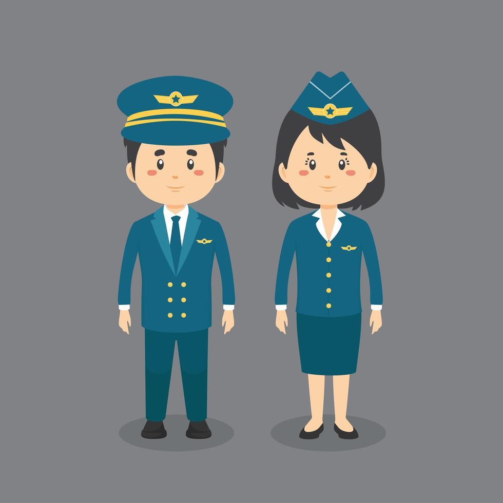 karaktärer som bär pilotuniform vektor