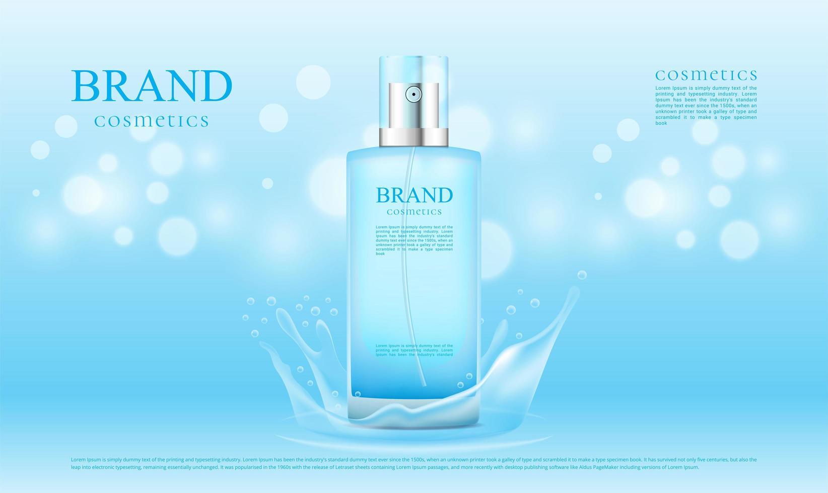 blaues Spritzwasser für Kosmetikproduktwerbung vektor