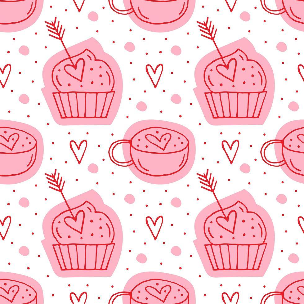 muffins, pilar och koppar med hjärtan vektor