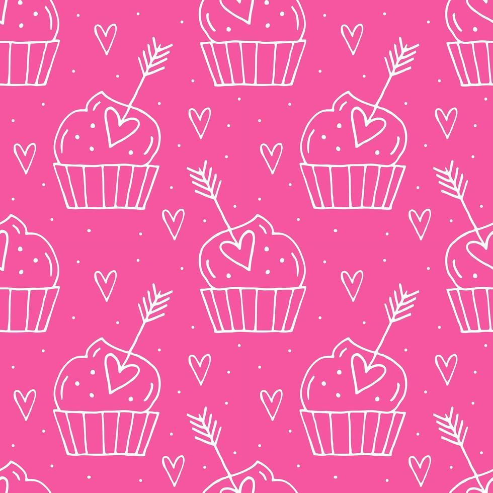 muffins med hjärtan vektor