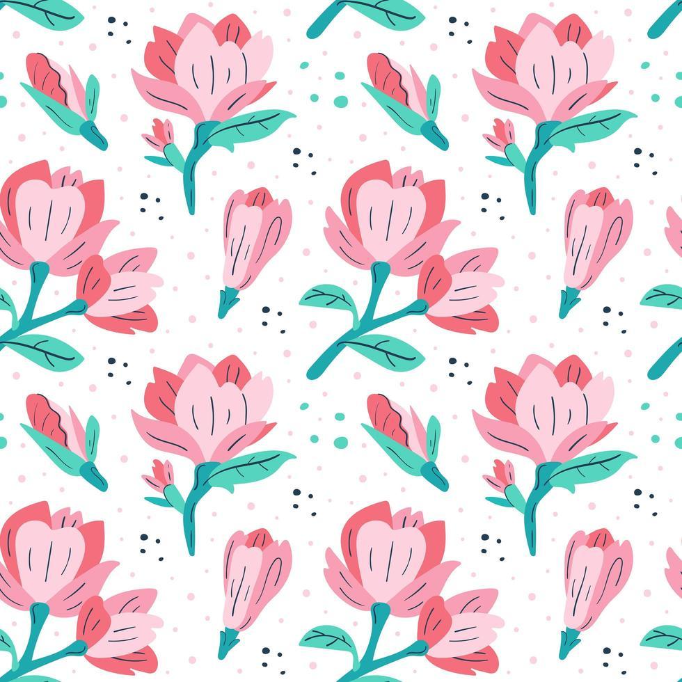 rosa magnolia mönster vektor