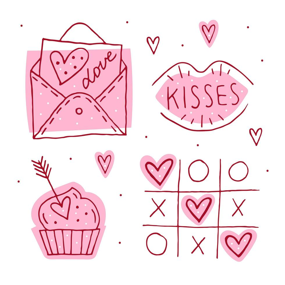 st.valentines day doodle Satz von Elementen. vektor