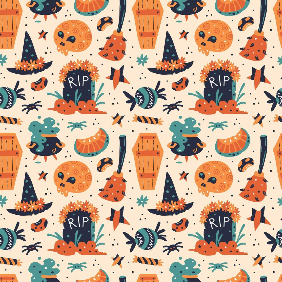 Happy Halloween nahtloses Muster vektor