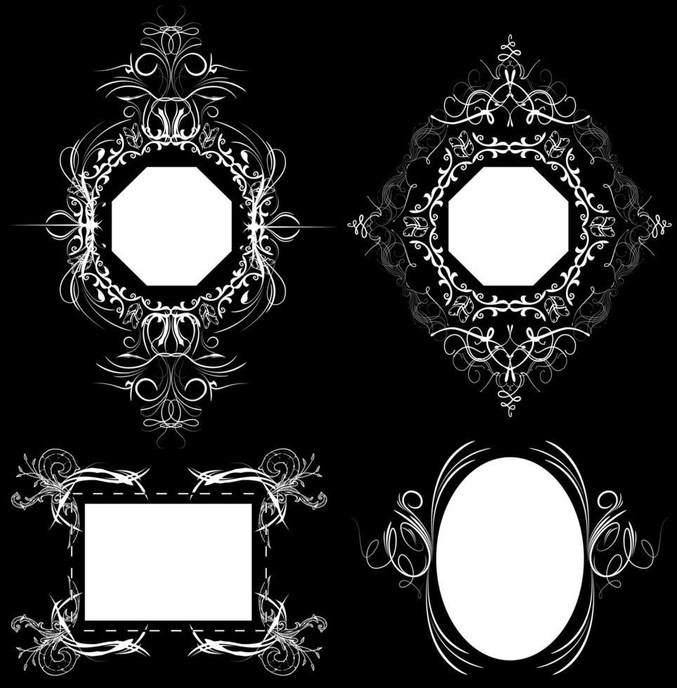 vintage etiketter, ramar med utsmyckade mönster vektor