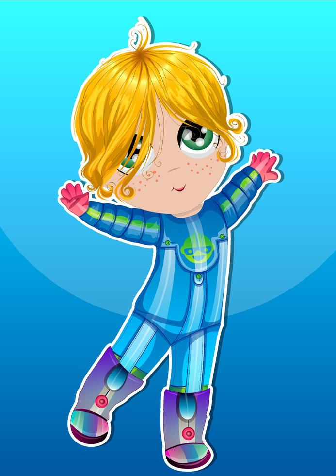 barnas astronaut i blå kostym vektor