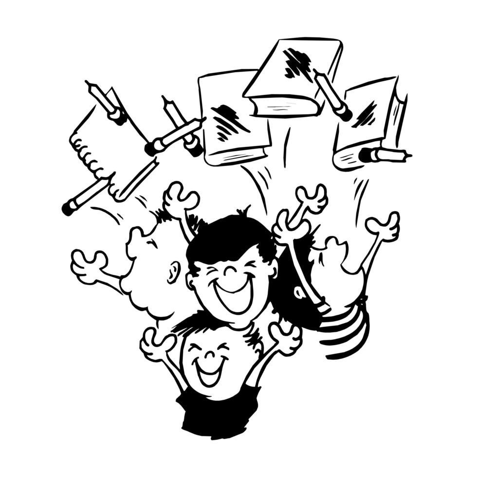 barn med lyckligt uttryck med böcker vektor
