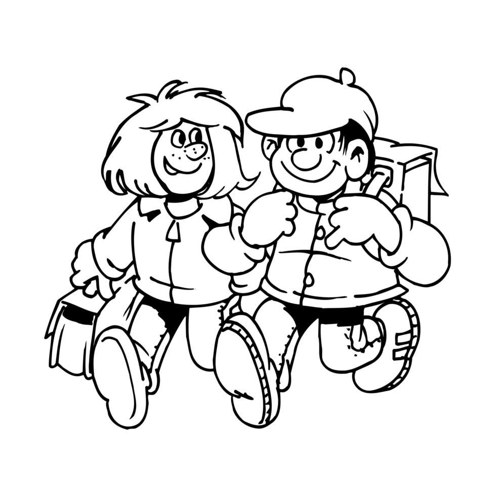 två barn som går till skolan med lyckligt uttryck vektor