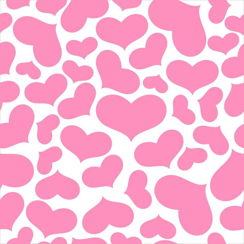rosa hjärtan på vita sömlösa mönster vektor