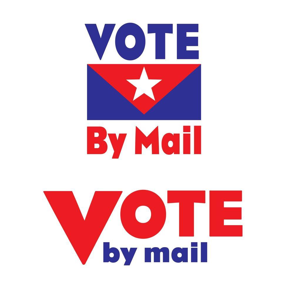rot, weiß und blau stimmen per Mail-Emblem ab vektor