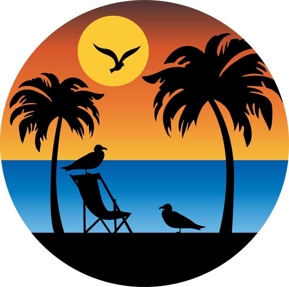palmträd och mås silhuett med solnedgång vektor